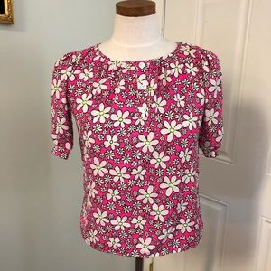 Pink daisy 70s inspired blouse top
